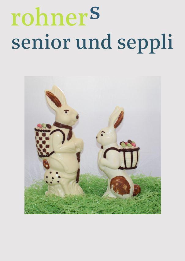 Osterhasen Senior und Seppli weisse Schokolade